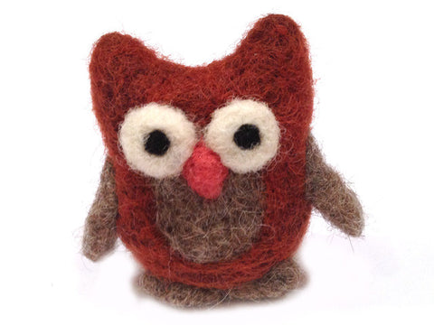 Needle felted cute pure wool owl