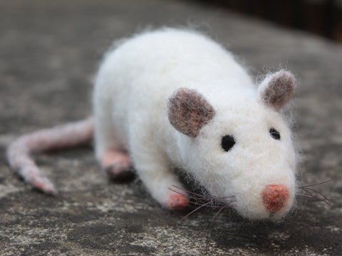 Handmade needle felted rat