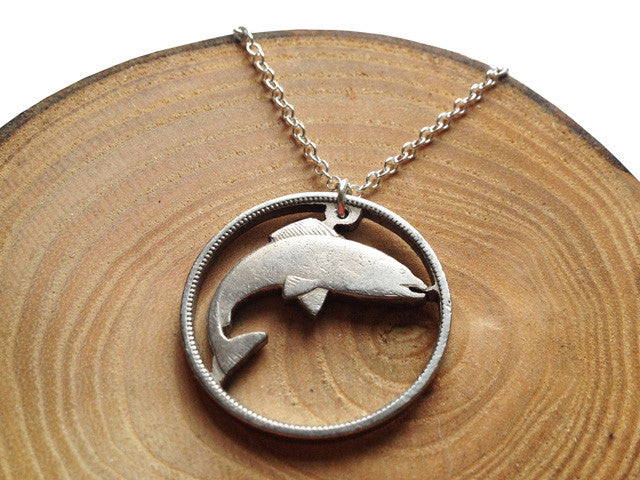 "Handcut Irish coin ""Salmon"" necklace"