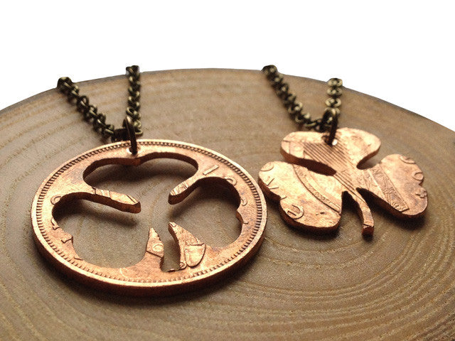 "Handcut coin ""Shamrock"" necklaces"