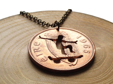 "Handcut coin necklace ""Skater"""