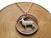 "Handcut coin necklace - One Irish pound ""Deer"""
