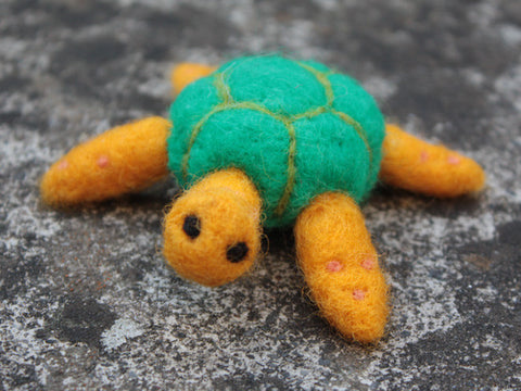 Handmade pure wool felted turtle
