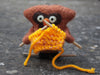 """Knitting Owl"" needle felted friend"