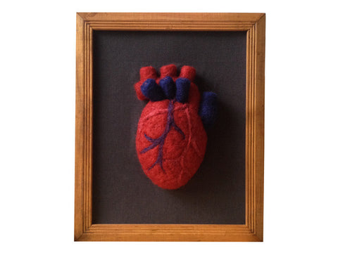 "Handmade needle felted framed ""Anatomical heart"""