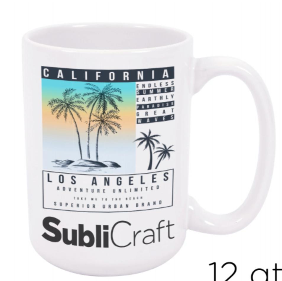 15 oz. White Ceramic Sublimation Mug