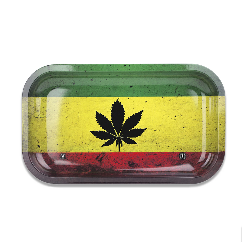 v syndicate metal rolling tray rasta leaf medium