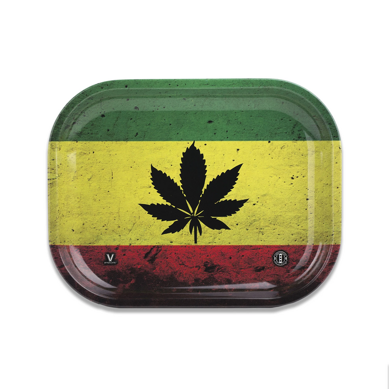 v syndicate metal rolling tray rasta leaf small