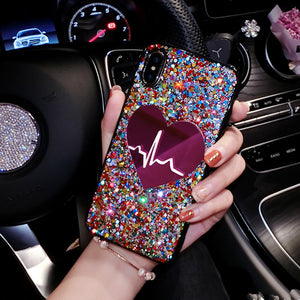 Glitter Big Heart Case For iPhone