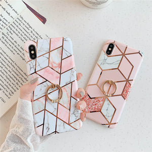 Plating Geometric Marble iPhone Cases