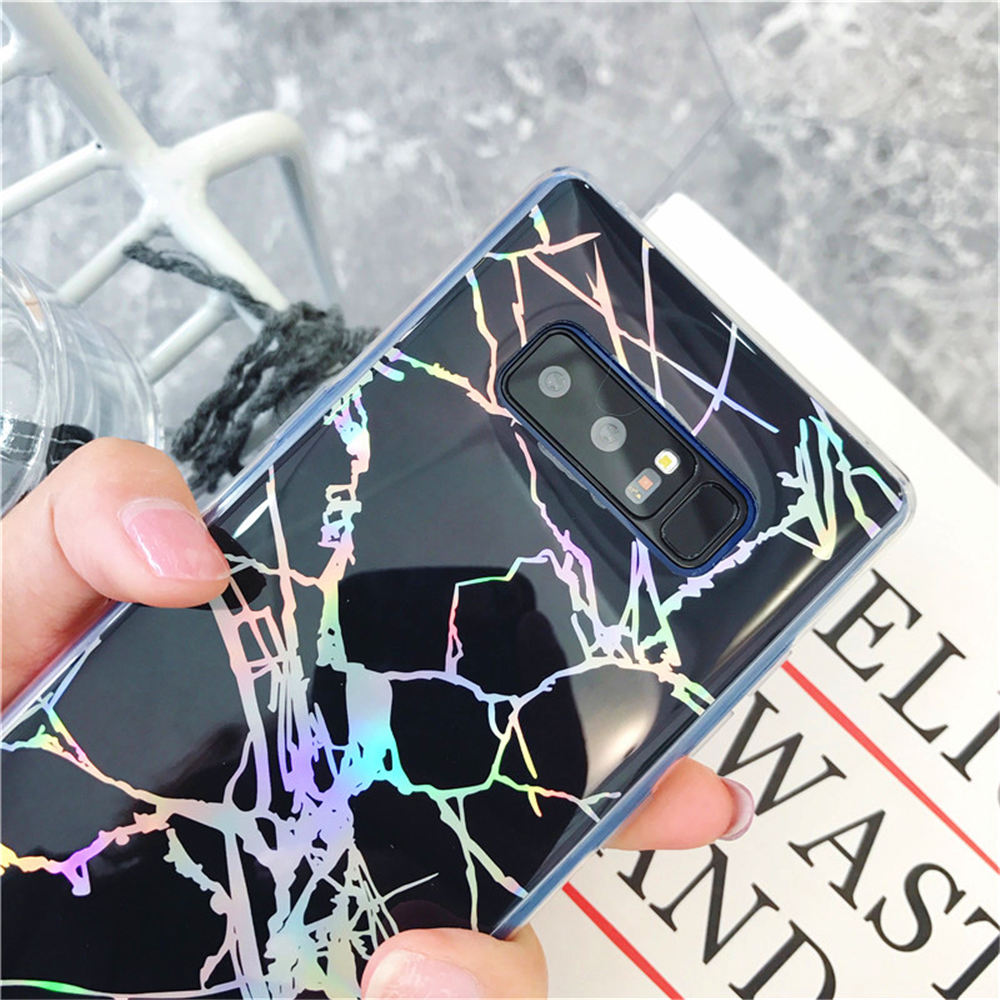 Glossy Laser Marble Phone Case For Samsung