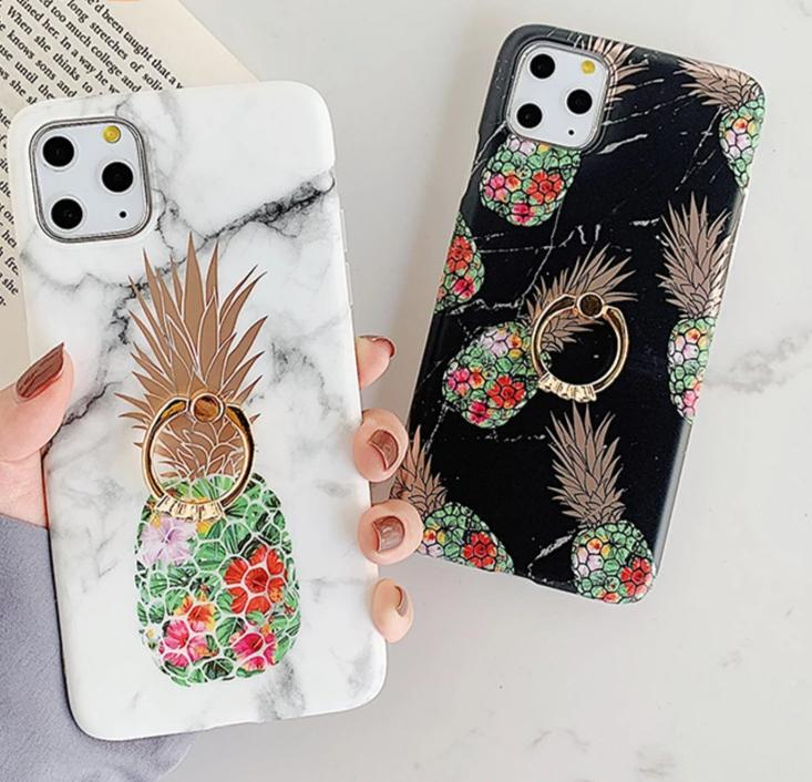 Ring Stand Pineapple Marble iPhone Case