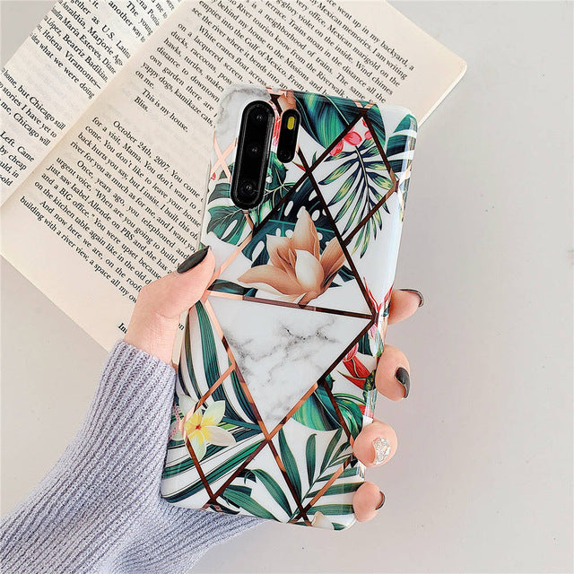 Plating Vintage Flower Phone Cases For Huawei