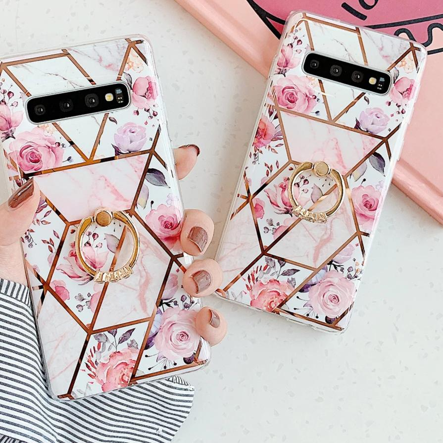 Marble Pink Flower Phone Case For Samsung