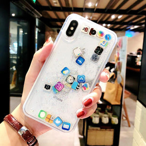 Liquid Glitter Cute APP icon Case