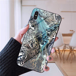 Retro Marble Glass Case For iPhone