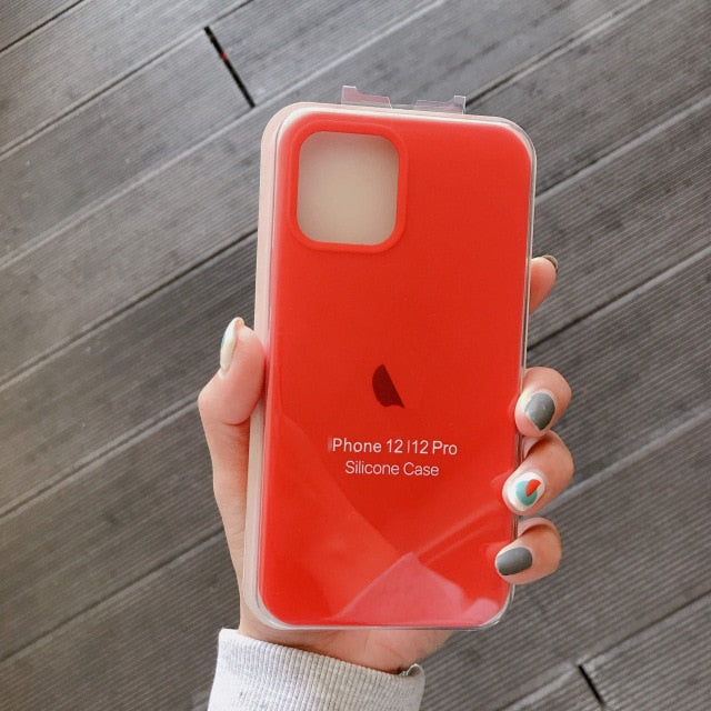 Official With LOGO Silicone Case For iphone 12 pro max 7 8 6 6s plus Case For apple iphone 11 pro max xr xs max x se 2020 Cover
