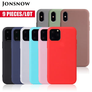 9pcs/Lot Pure Color Matte Case for iPhone 11 XR XS Max 6S 7 8+ 5S SE 2020 Cases Candy Color Soft Silicone Skin Gel Back Cover