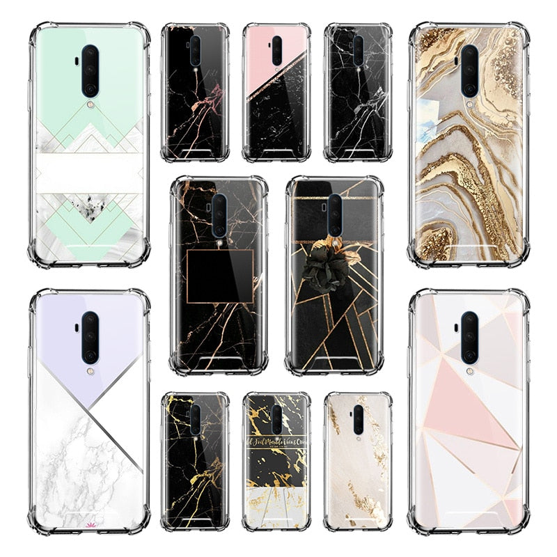 Luxury Marble Printing Case for Oneplus 8 7 7T Pro 5G 6 6T 8Pro 7TPro Airbag Anti Fall Silicone Capas TPU Phone Covers