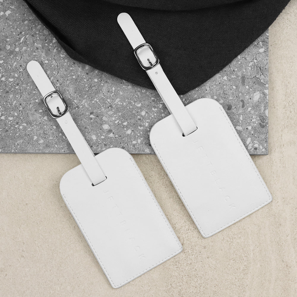 Jett White Luggage Tags