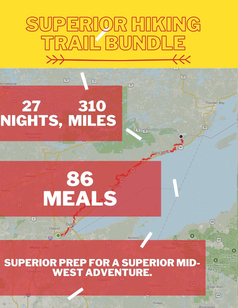 Graphic of map featuring the Superior Hiking Trail Backpacking Food Bundle with text: 27 Nights, 310 Miles, 86 Meals, Superior Prep for a Superior Mid-West Adventure.