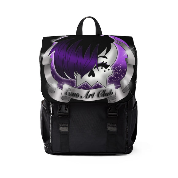 black and purple with skull backpack