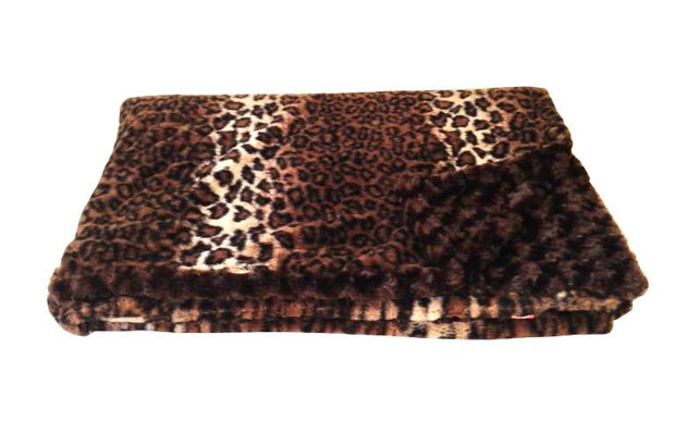 Dark Brown Leopard Throw