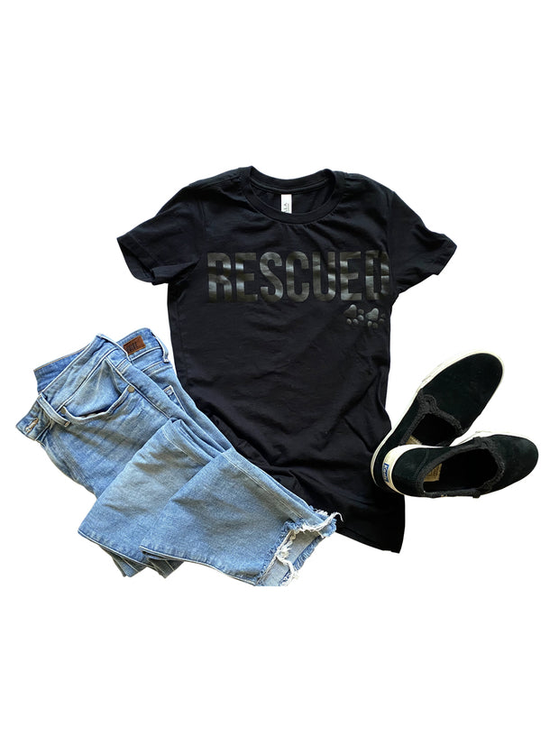 'RESCUED' Woman's Tee, Black with Anthracite foil