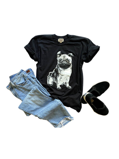 Men and Women's Black tee w/ Grey Pug