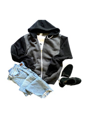 'RESCUED' Men's Hoodie, Grey/Black with Anthracite foil