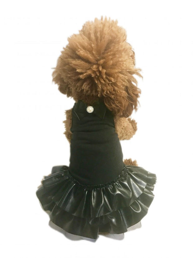 Let's Rock! Vegan Leather Dog Tutu Dress, black