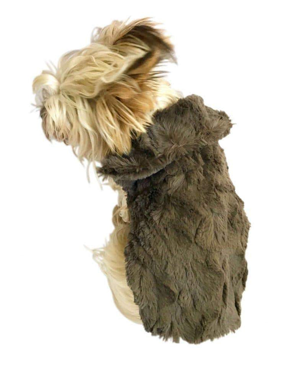 Luxury Bella Faux Fur Dog Coat, Charcoal