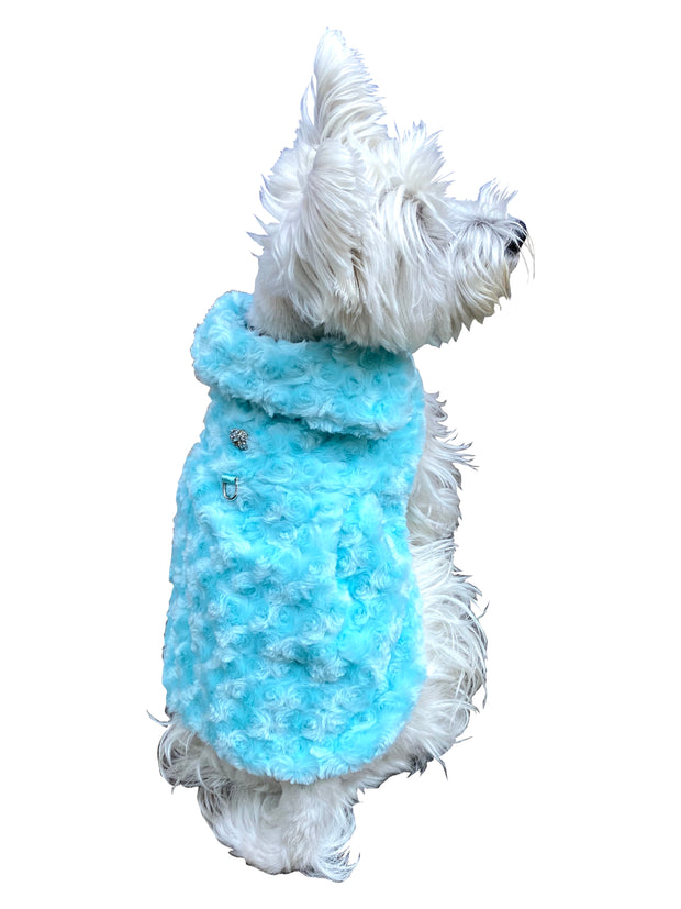 Rosebud Faux Fur Dog Coat, Seafoam