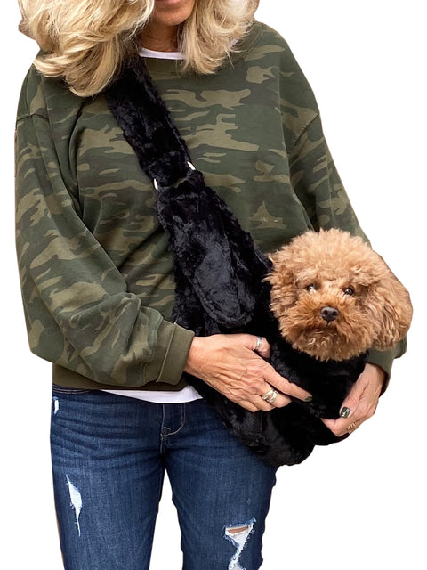 Furbaby Adjustable Sling Bag, Black