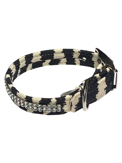 Glamour Girl Swarovski 2 Row Dog Collar, Zebra