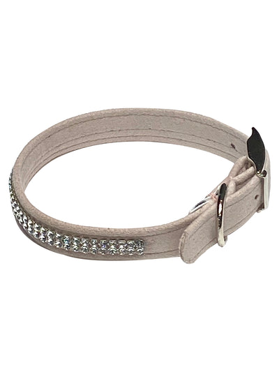 Glamour Girl Swarovski 2 Row Dog Collar, Lt Rose
