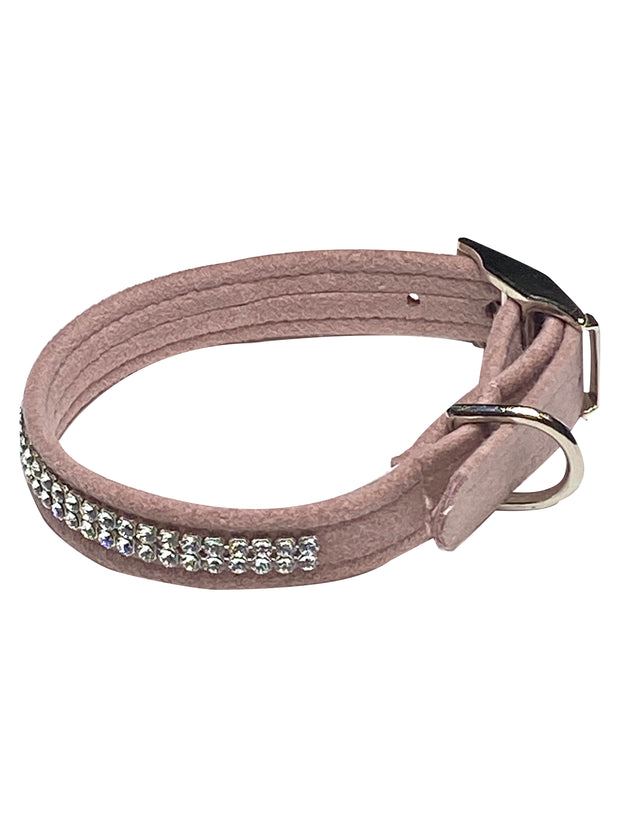 Glamour Girl Swarovski 2 Row Dog Collar, Rosewood