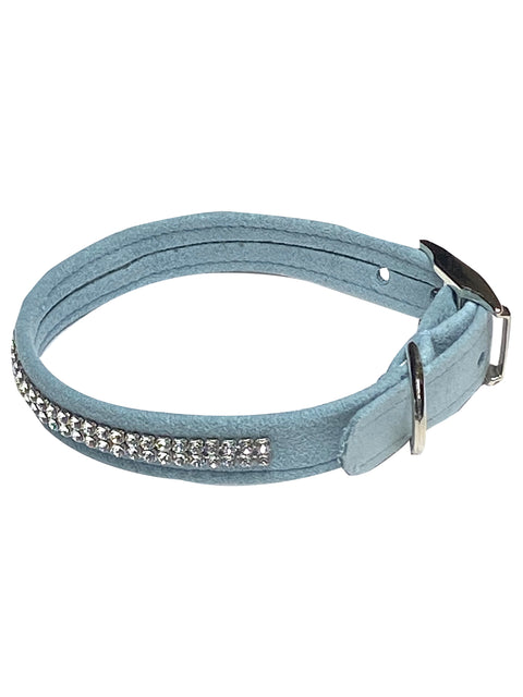 Glamour Girl Swarovski 2 Row Dog Collar, Horizon Blue