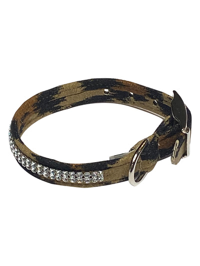 Glamour Girl Swarovski 2 Row Dog Collar, Leopard