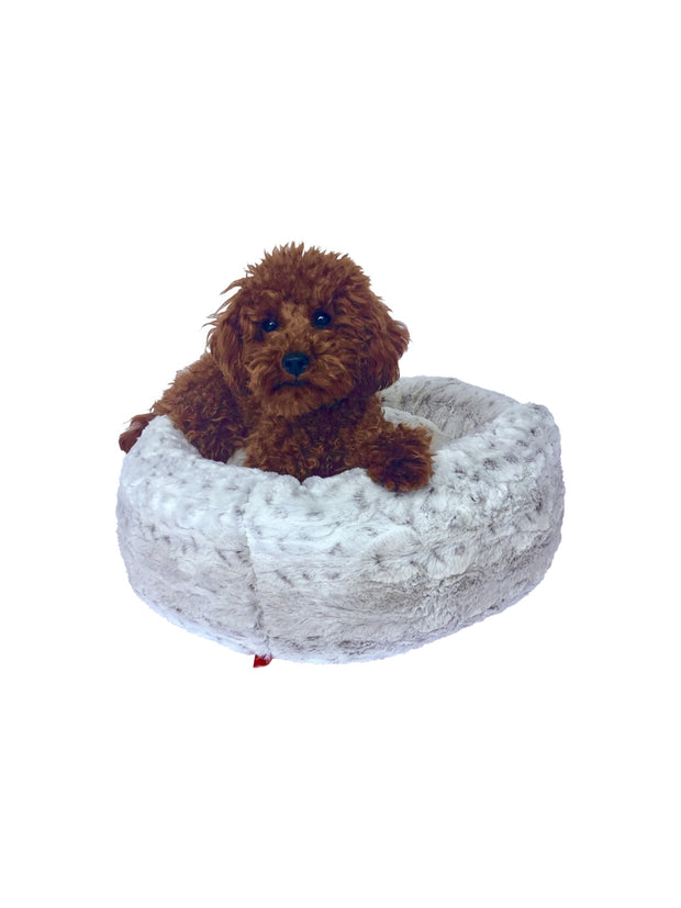 Crispy Creme Tiny Donut Bed, Frosted Snow Leopard