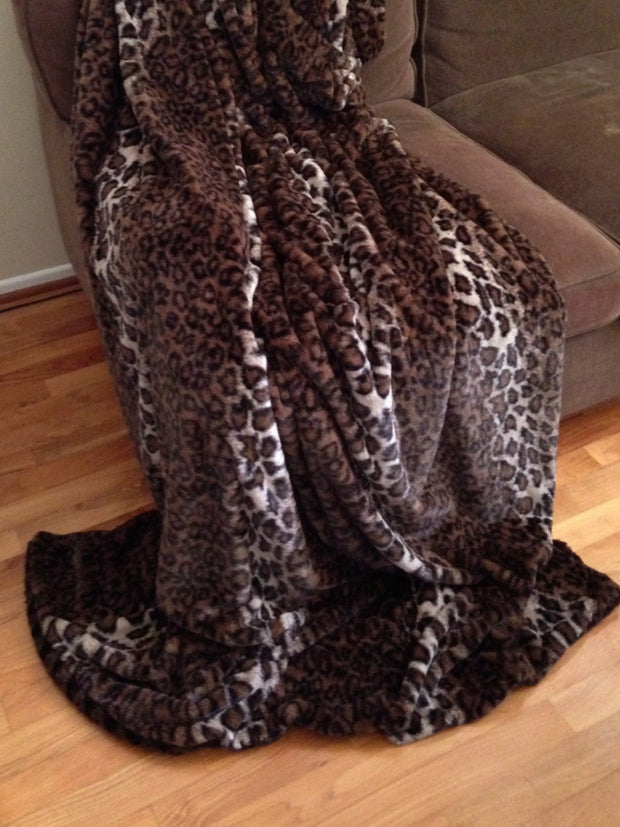 Throw, Dark Brown Leopard