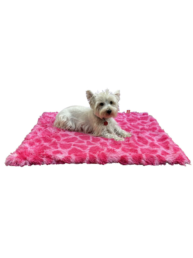 Blanket, Powder Puff Giraffe Shag in Hot Pink Medium