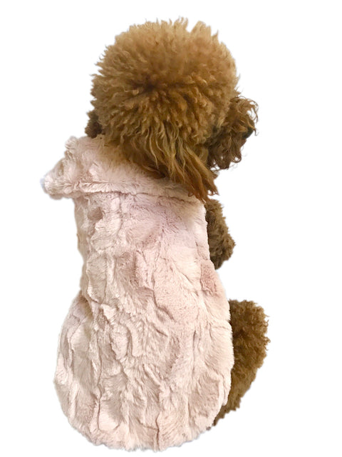 Luxury Bella Faux Fur Dog Coat, Blush Pink