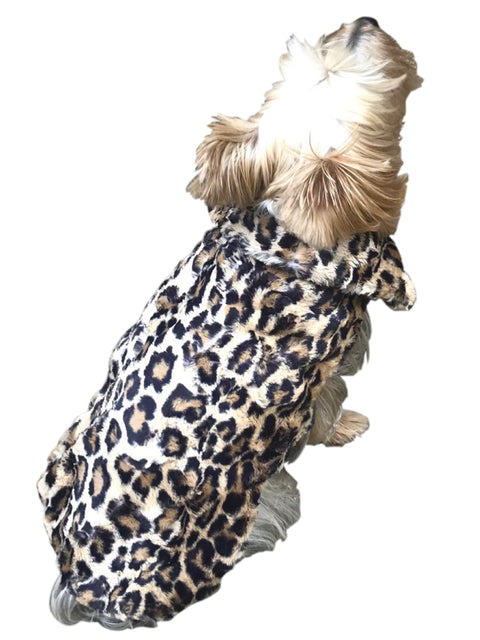 Luxury Bella Faux Fur Dog Coat, Leopard Sand