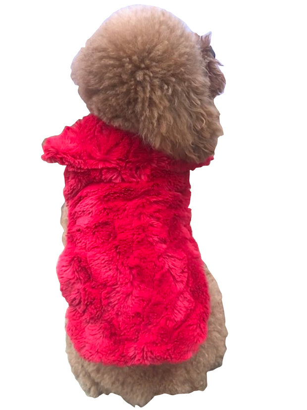 Luxury Bella Faux Fur Dog Coat, Real Red