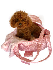 Brit Quilted Carrier, Pink Satin