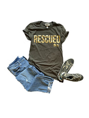 'RESCUED' Women's Tee, Olive with Gold foil