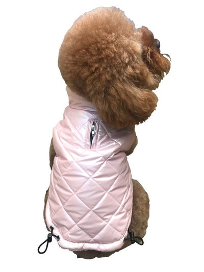 Coco Puffer Diamond Quilted Coat, Pearl PInk