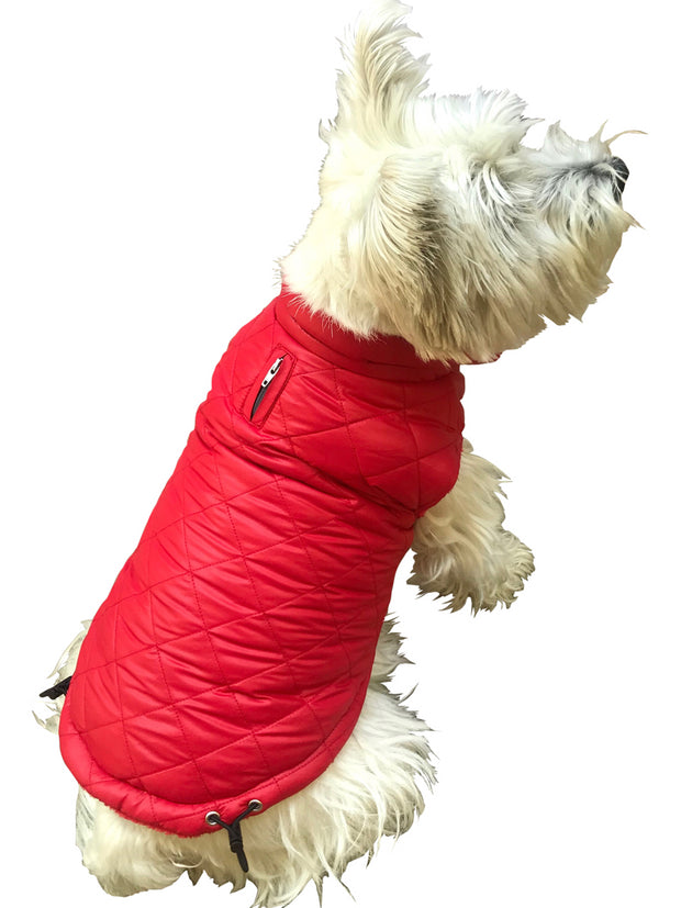 Coco Puffer Diamond Quilted Coat, Real Red