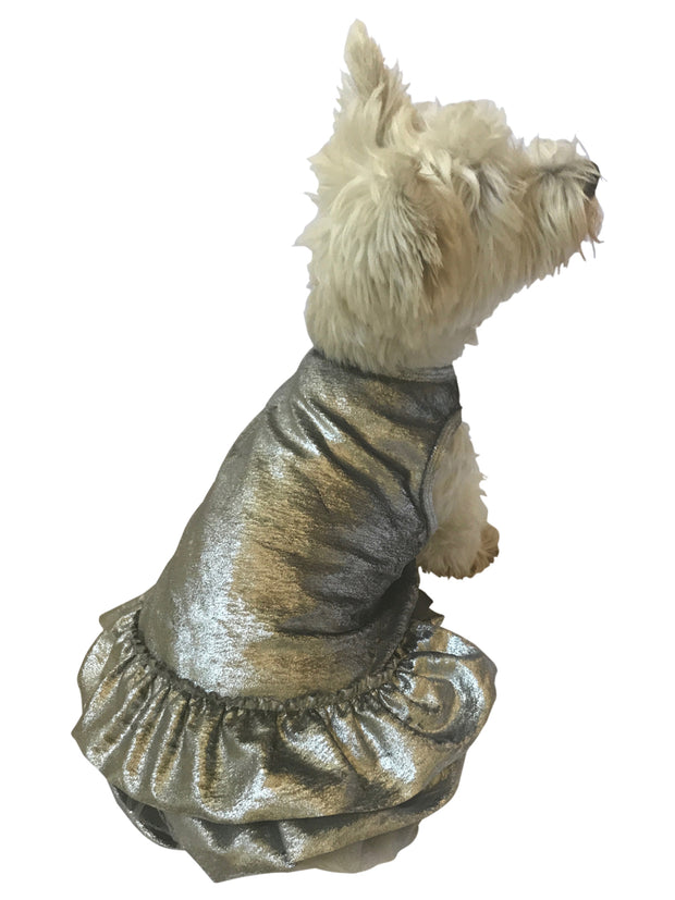 Crushing on YOU Metallic Velvet Dog Dress, Silver